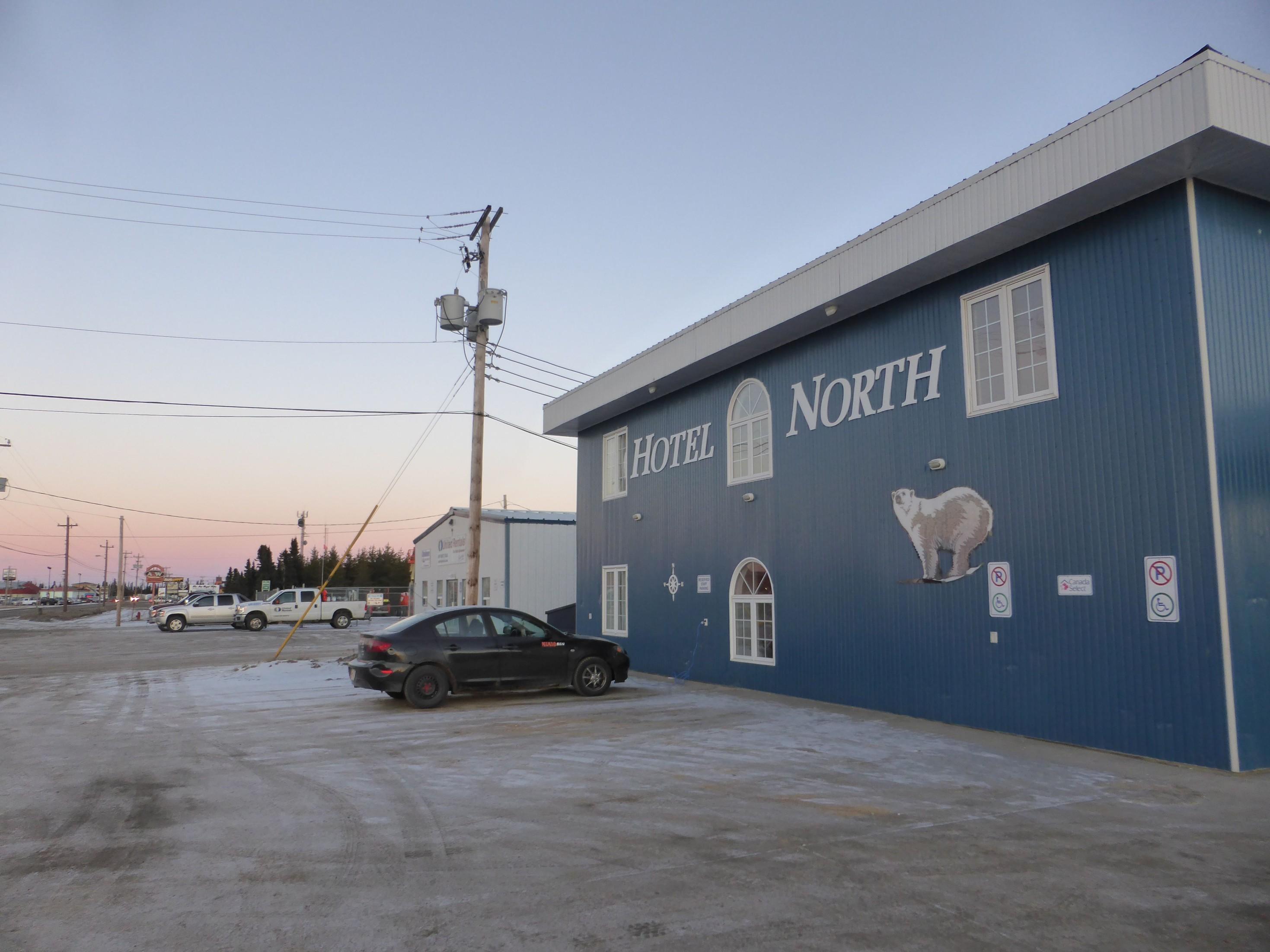 Polární hotel v Goose Bay, Kanada.
