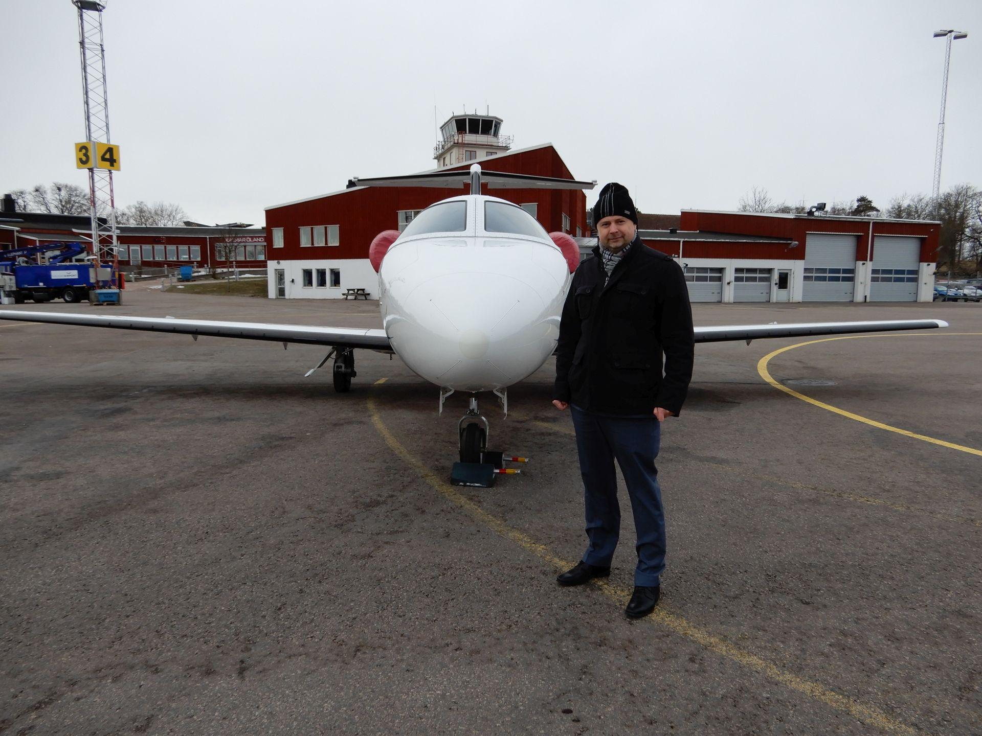 S Cessnou Mustang na Švédském letišti Kalmar ESMQ